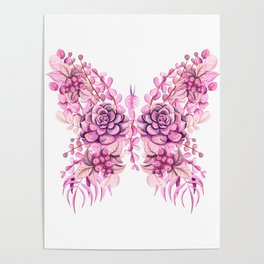 Flowery Pink Princess Butterfly Poster