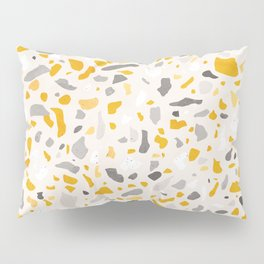 Terrazzo memphis vintage mustard yellow white grey black Pillow Sham
