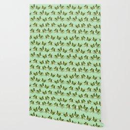 Green butterflies pattern Wallpaper