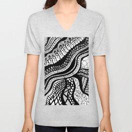 Free Hand Wavy Pattern Black and White Drawing Unisex V-Neck