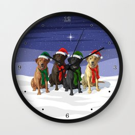 Christmas Dogs Red Chocolate Black Yellow Labrador Retrievers Wall Clock
