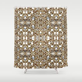 jewelry gemstone silver champagne gold crystal Shower Curtain