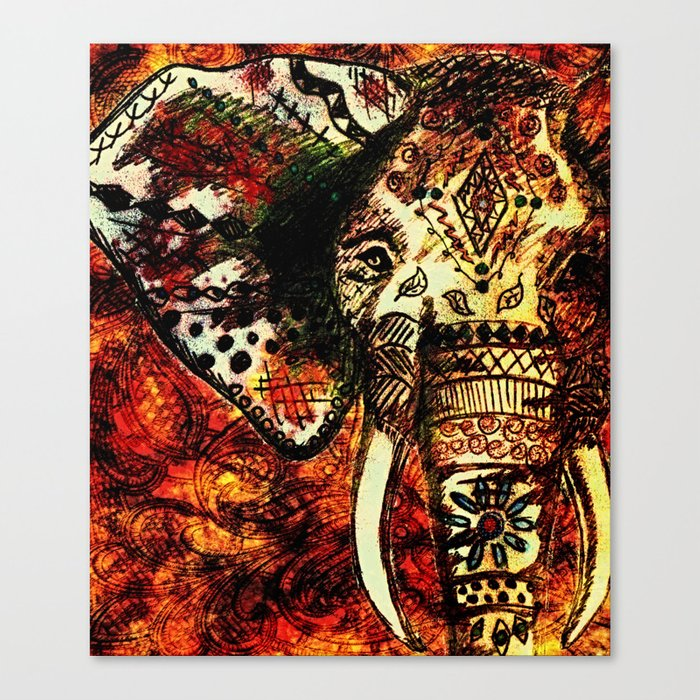 Patterned Sketched Elephant Canvas Print