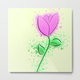 Minimalist Purple Flower Metal Print
