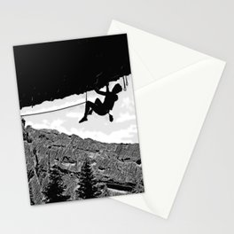 Rock Climber in Steep Cave Black and White Stationery Cards