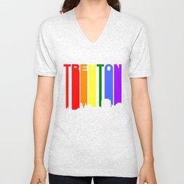 Trenton New Jersey Gay Pride Rainbow Skyline Unisex V-Neck