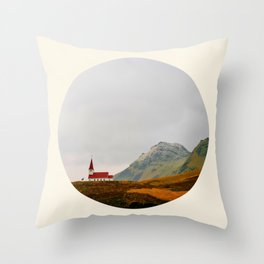 Lonely Icelandic Church Mountains Landscape Round Photo Throw Pillow