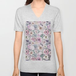 Hand painted blush pink gray violet watercolor roses floral Unisex V-Neck