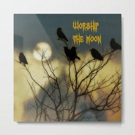 Moon Worshipping Crows Metal Print