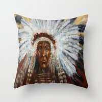 native american Throw Pillows featuring Native American by Mary J. Welty