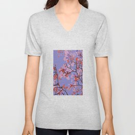 Copper Flowers on violett ground Unisex V-Neck