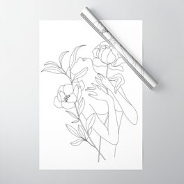 Minimal Line Art Woman with Peonies Wrapping Paper
