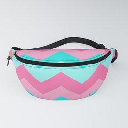 Hot Pink Turquoise Aqua Blue Chevron Zigzag Pattern Print Fanny Pack