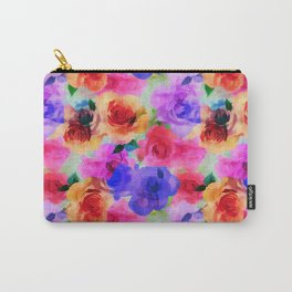 Colorful abstract modern roses flowers pattern Carry-All Pouch