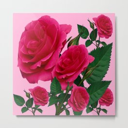 DECORATIVE RED GARDEN ROSES PINK ART Metal Print