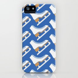 Ice Skating Pattern (Blue/White) iPhone Case