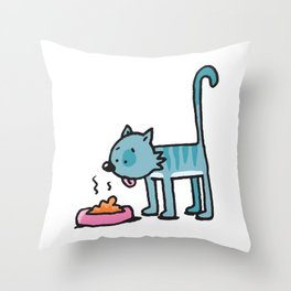 Smelly cat food Throw Pillow