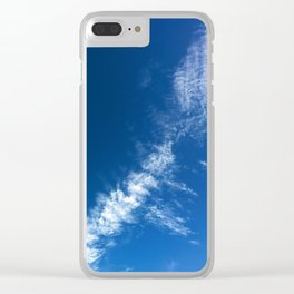 Clouds on Deep Blue Clear iPhone Case