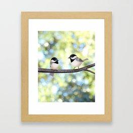 2 black-capped chickadees - bokeh Framed Art Print