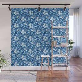 William Morris Iris and Lily, Indigo Blue and White Wall Mural