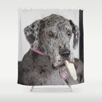 great dane Shower Curtains featuring Great Dane by Deborah Janke