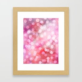 Strawberry Sunday - Pink Abstract Watercolor Dots Framed Art Print