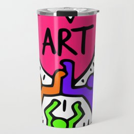 "Keith Haring inspired ""I Love Art"" Secondary Colors edition Travel Mug"