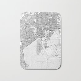Vintage Map of Tampa Florida (1944) BW Bath Mat