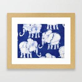 Batik Elephants Framed Art Print