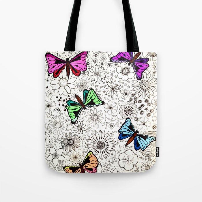 Flowers & butterflies Tote Bag
