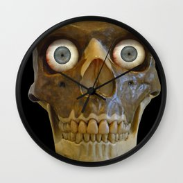 Neandethal Skull with Blue Eyes Wall Clock