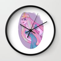 princess bubblegum Wall Clocks featuring Princess Bubblegum by Caliginous Art