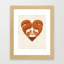 Love Heart Squirrels Framed Art Print
