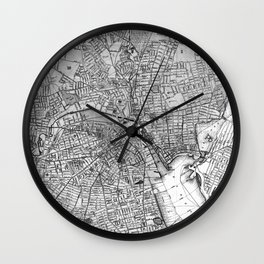 Vintage Map of Providence Rhode Island (1899) BW Wall Clock