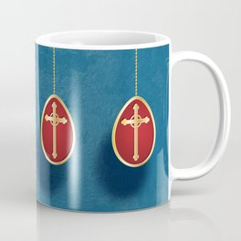Gold and red egg on blue Coffee Mug