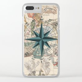 Compass Graphic with an ancient Constellation Map Clear iPhone Case