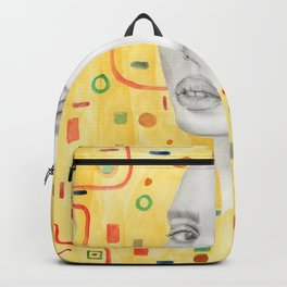 Lady in Gold Backpack