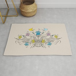Shabby Chic vintage lily flowers bouquet and birds 1 Rug
