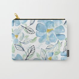 Blue flower garden watercolor Carry-All Pouch