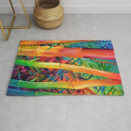 Exotic Rainbow Bamboo Rug