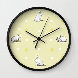 Bunny Print Yellow Wall Clock