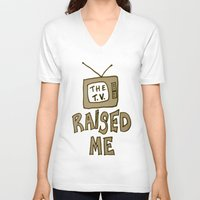 tv V-neck T-shirts featuring tv by gasponce