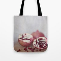 pomegranate Tote Bags featuring Pomegranate by Kim Bajorek