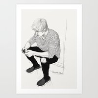 niall Art Prints featuring Niall Sketch by Coconut Wishes