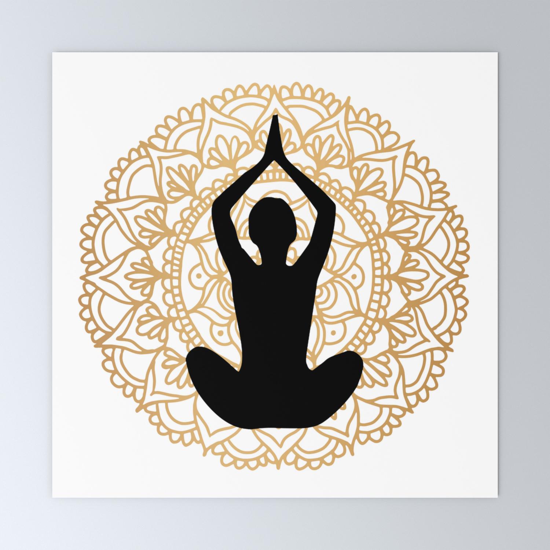 Lotus Yoga Pose Mandala Black White Gold Mini Art Print By Julieerindesigns Society6