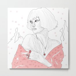 Cute Sketch girl with pink |art women line with ice | drawing beauty   girl Metal Print