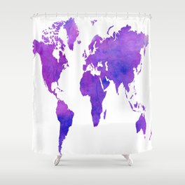 Purple Map Shower Curtain