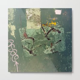 Urban Abstract in Green Metal Print