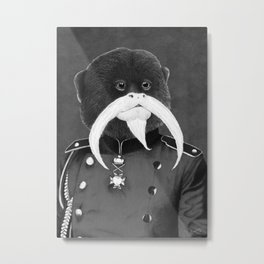 Emperor Tamarin black and white Metal Print