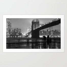 Brooklyn Bridge on a rainy night Art Print